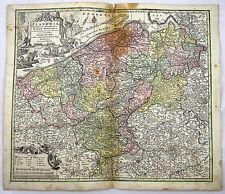 FLANDERN BRÜGGE OSTENDE GENT BELGIEN KOL KUPFERSTICH KARTE SEUTTER 1720 #D948S