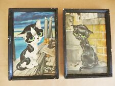 vintage kitschy Gig big eye cat cats kitten pity kitty picture set framed