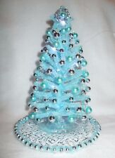"NEW OOAK 8.5"" LIGHTED BLUE DOLLHOUSE MINIATURE CHRISTMAS TREE MID-CENTURY MODERN"