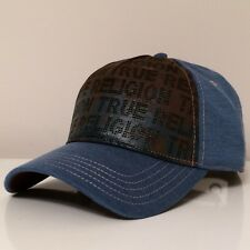 True Religion Front Leather Pore X-ray Prof Blocked Cap Hat $95 NWT Brown/Blue
