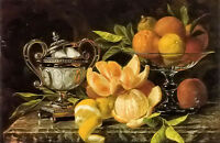 Oil painting jean capeinick - nature morte aux oranges et citrons still life art