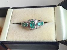 Emerald Diamond Sterling Silver Fine Gemstone Rings