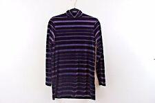 Vintage 90's Jones & Co Mock Turtleneck Purple Stripes Velour Size Small