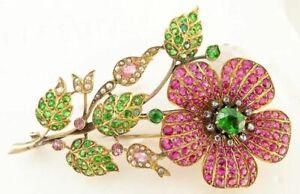 Antique Brooch Pin 10K Yellow Over Demantoid Garnet Ruby Sapphire Diamond Pearl
