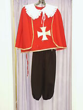 Boys French Musketeer Hire Quality Fancy Dress Costume Red 128cm