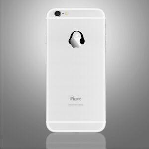 iPhone 6/6s/7/8/X Black headphones Apple decal sticker art (NEW)