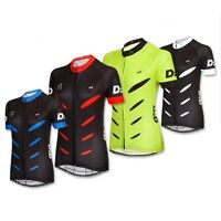 D2D Ladies Short Sleeve Cycling Jersey v2: Black and Red, White, Blue or Fluoro