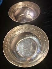 TWO LARGE IDENTICAL 925 STERLING SILVER SALAD BOWLS