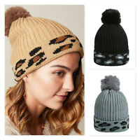 Damen Mütze Beanie Strickmütze Wintermütze Warme Bommelmütze Winter Cap leopard