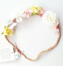 Cinta de pelo flores 20,5 cm h/&m nuevo blanco rosa hojas verdes niños