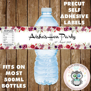 PERSONALISED WATER BOTTLE LABELS HEN PARTY FLORAL DECORATION FAVOURS GIFTS