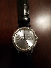 GUESS WATCH LOGO DIAL WITH RHINESTONES , BLACK  LEATHER STRAP -G76072L
