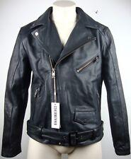 Dirk Bikkembergs giacca di pelle leather jacket Biker Giacca Tg. 46 Black NUOVO con ETIKET
