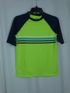 Cat & Jack Boys Size Large Husky Swim Shirt Lime Green 3/4 Sleeve UPF 50+ Sun