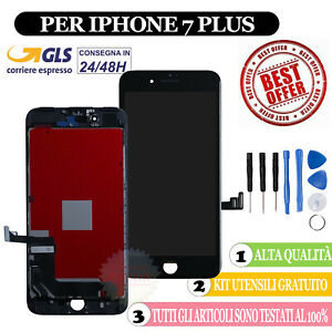 PER APPLE IPHONE 7 PLUS TOUCH SCREEN LCD DISPLAY RETINA SCHERMO + FRAME NERO