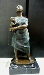"Francisco Zuniga Beautiful scultpure woman with child 2 tone patina over 2"" high"