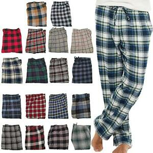 Ex-Store Mens Pyjamas Lounge Pants Flannel Check Bottoms Trouser Nightwear PJs