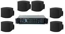 Sistema filodiffusione kit audio 6 diffusori da MURO neri e amplificatore Radio