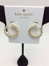"""$58 kate spade  """"Bipass Hoops"""" Flying Colors Bipass Clear Gold Hoop Z13"""
