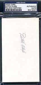 Dutch Clark Psa/dna Coa Original Hand Signed 3x5 Index Card Authentic Autograph