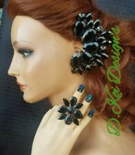 drag jewelry Jet Black Cuff earrings with clip dragqueen king  pageant ring