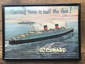 RMS Queen Mary & Elizabeth Cunard Framed Poster