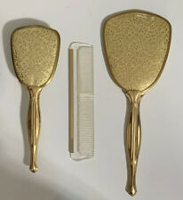 Vintage Used Golden tone Mirror/Comb/Brush Set