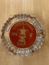 Liverpool Football Club 1974 FA Cup Winners Round Glass Ash Tray ManCave Bar Pub