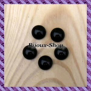 20 cabochons verre Noir 14 mm