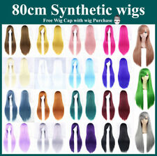 80cm Long Straight Sleek Full Hair Wigs with Side Bangs Cosplay Costume Women