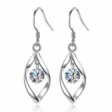 Womens Leaf Earrings Drop Dangle Hook 925 Sterling Silver Stud Studs Round Long