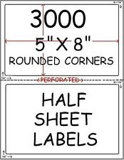 3000 HALF SHEET LABELS FOR PAYPAL SHIPPING ROUND CORNER
