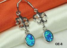 Dangle Earrings~Sterling Silver 925~Oe-8~Maxxm Classic Fleur-De-Lis With Opal