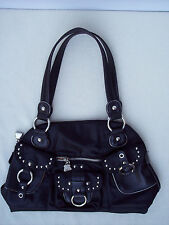KVZ Kathy van Zeeland Zip Purse Shoulder Bag Double Handle Black Silver Studs