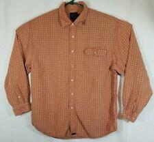 Mens Indigo Palms Shirt XL Button Front Long Sleeve Plaid Tencel Blend