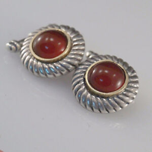 Cuff-links Vintage Style Men's Elegant Jewelry With Carnelian Gem Handmade