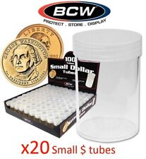 20 Round Small Dollar Coin Storage Tubes Clear Plastic Screw Caps BCW Lot 26mm