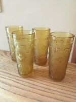 "SET OF 4 Brockway Glass AMERICAN CONCORD AMBER 6-3/8"" 14-oz Tumblers"