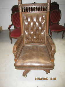 Antique Oak & Brown Leather Lawyer's Highback Swivel Armchair--Circa 1890