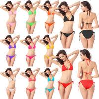 Maillot De Bain Bikini à Lacets Bikini En Cuir Verni Multicolore Multicolore DA