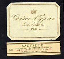 SAUTERNES 1EGCC ETIQUETTE+CONTRE CHATEAU YQUEM LUR SALUCES 1998 75 CL §12/03/17§