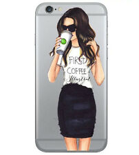 Girl Fashion Ultra-slim soft TPU clear phone Case Cover For iPhone 7 6s Plus 5s