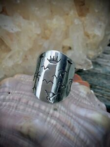 925 Sterling Silver Navajo Symbol, Organic / Bird Themed Wide Band Ring Size O/P