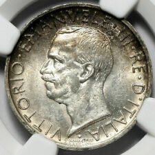 More details for 1927 r italy silver 5l five lire ngc ms63 **fert**