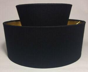 New Black Mid Century Two Tier Hardback Lamp Shade, Bulb Clip, Fine Linen HS690N