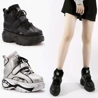 Womens Girls High Top Chunky Platform Wedges Trainers Retro Boots Punk Goth New