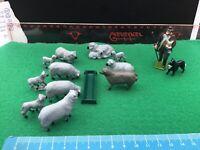 Vintage Britains Era Lead Farm.Shepherd,Dog,Ram,6 x Ewes & 6x Lambs.A1.1/32
