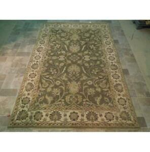 6x9 Hand Knotted Vegetable Dyed Chobi Wool Rug Green B-73619 *