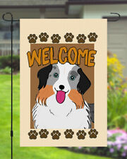 American Shepherd Welcome Dog Garden Banner Flag 11x14 to 12x18 Pet Yard Decor