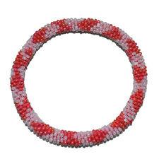 Shimmering Red and White Beaded Crocheted Bracelet, Czech Seed Beads,Nepal,PB115